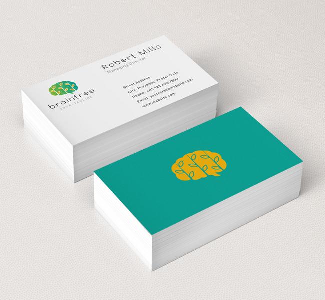 Brain leaf logo business card template the design love brain leaf business card mockup colourmoves