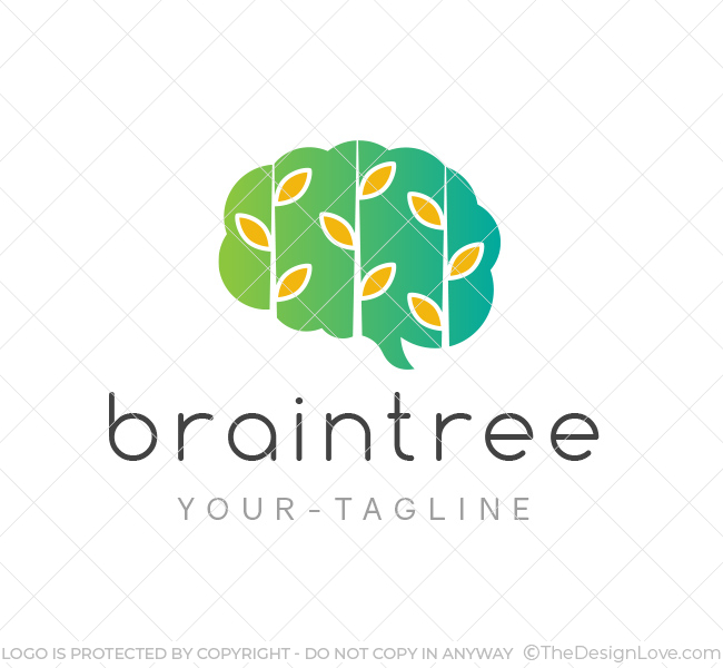 Brain leaf logo business card template the design love brain leaf logo wajeb Image collections