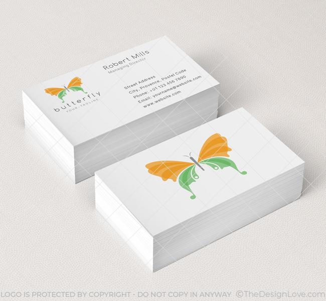 Butterfly logo business card template the design love for Butterfly business cards