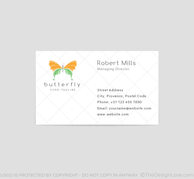 110 Butterfly Logo Business Card Template 2 on Text Feature Freebie