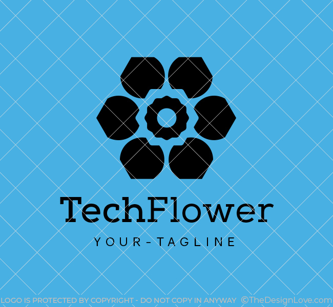 Ready-Logo-Abstract-Flower-Black