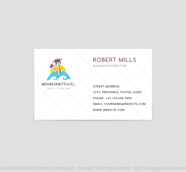 Mountain travel logo business card template the design love mountain travel business card template front colourmoves