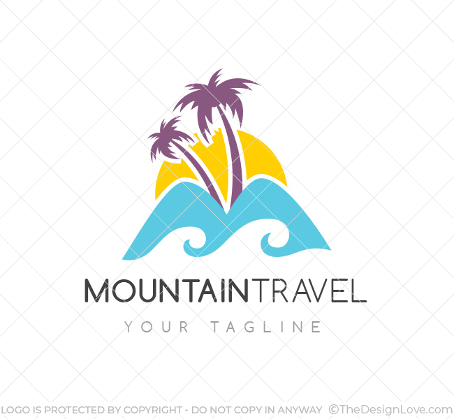 Mountain travel logo business card template the design love mountain travel logo wajeb Image collections