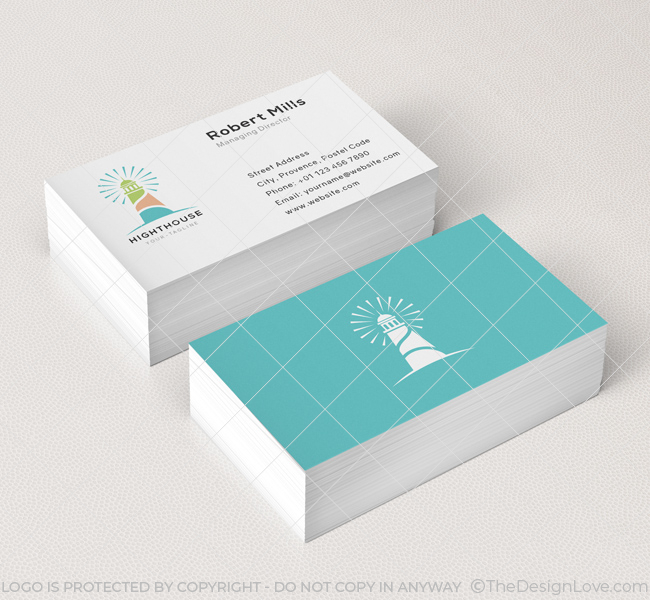 Light house logo business card template the design love light house business card mockup colourmoves