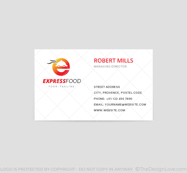 Express food delivery logo business card template the design love express food delivery business card template front reheart Gallery