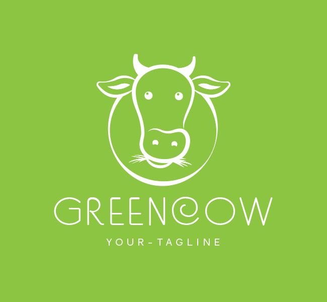 Pre-Made-Green-Cow-Logo-White
