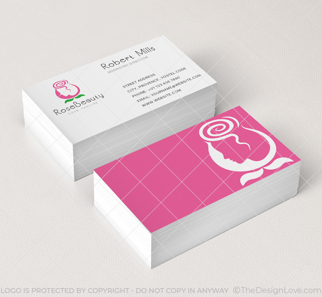 Rose beauty parlor logo business card template the design love rose beauty parlour business card mockup colourmoves