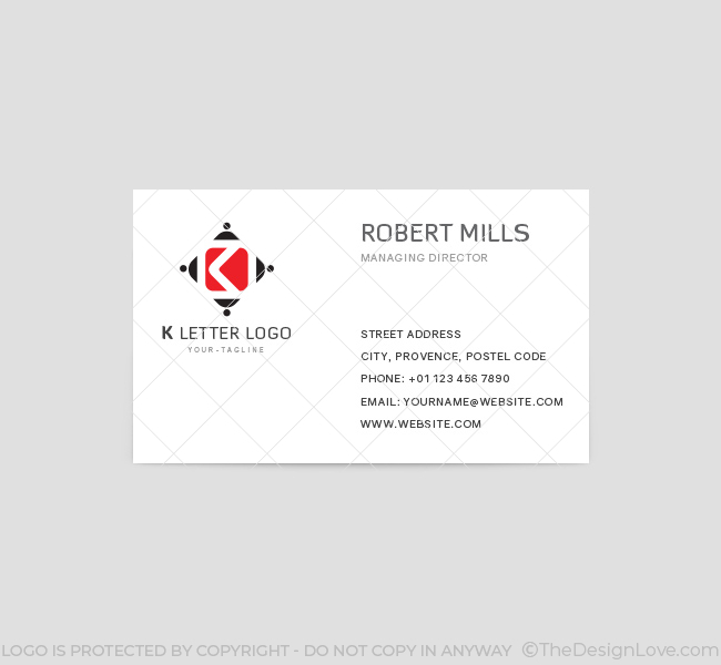 K letter logo business card template the design love k letter business card template front spiritdancerdesigns Choice Image