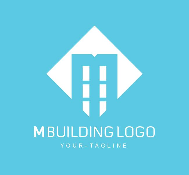 Pre-Made-M-Building-Logo-White