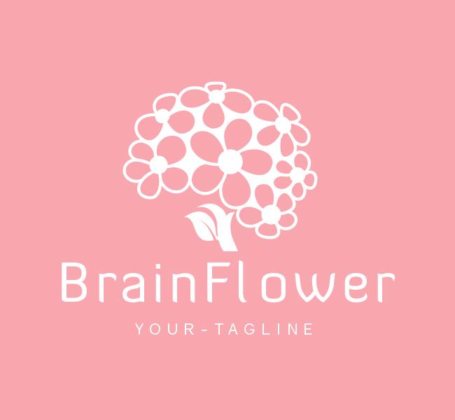 Pre-Made-Brain-Flower-Logo-White