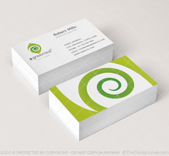 Green leaf logo business card template the design love green leaf logo business card template friedricerecipe Images