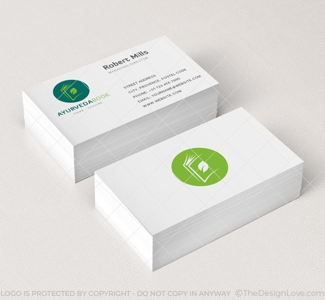 Ayurveda book logo business card template the design love ayurveda book business card mockup colourmoves