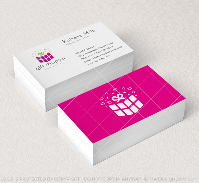 Gift shop logo business card template the design love for Business card shop