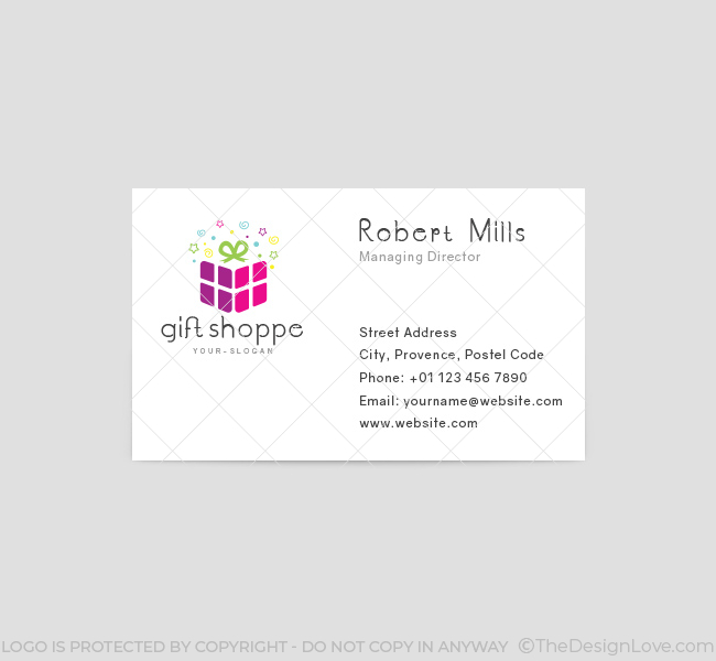 Gift shop logo business card template the design love gift shop business card template front colourmoves