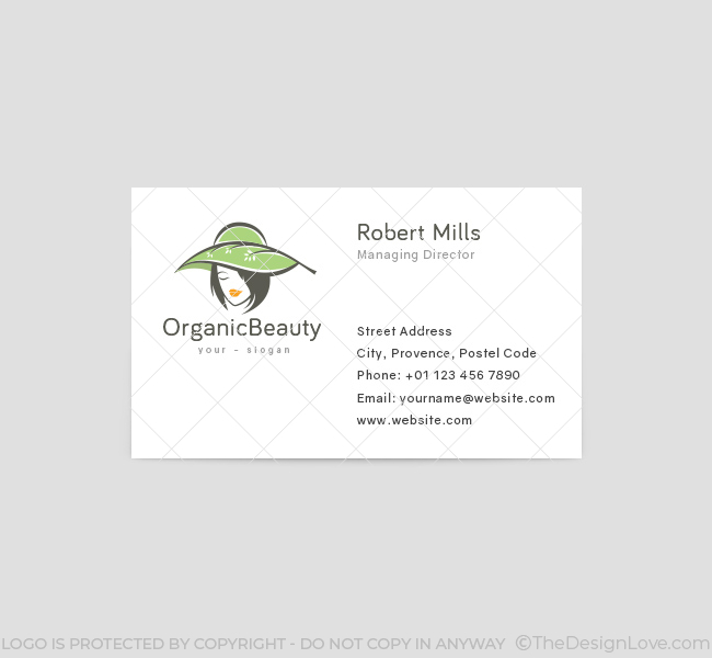 Organic beauty logo business card template the design love organic beauty business card template 1 front wajeb Images