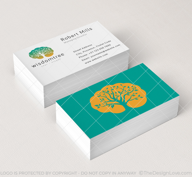 Wisdom tree logo business card template the design love wisdom tree business card mockup colourmoves