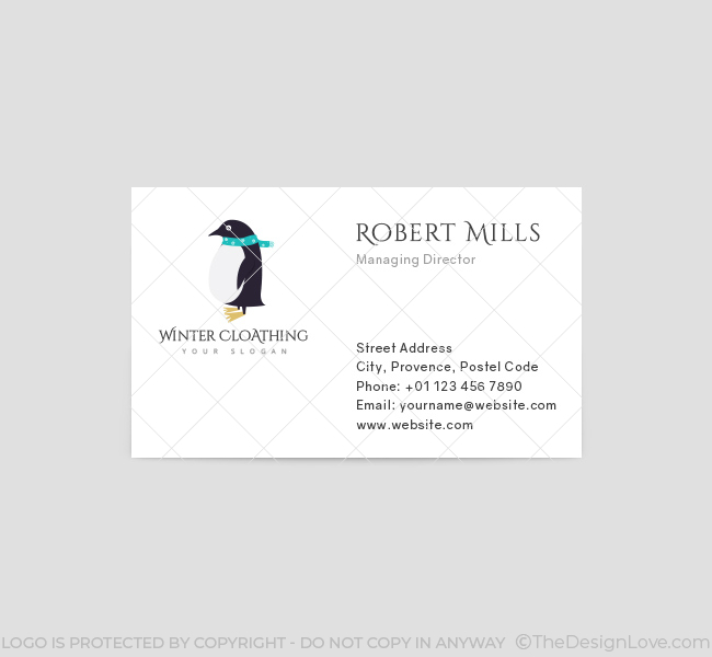 Winter clothing logo business card template the design love winter clothing business card template front flashek Images