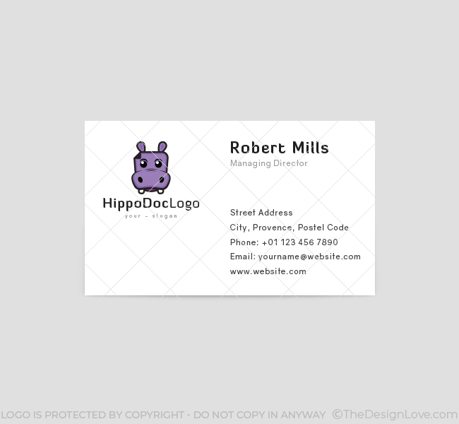 Hippo doc logo business card template the design love for Business card template doc