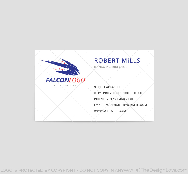 Falcon logo business card template the design love falcon business card template front accmission Images