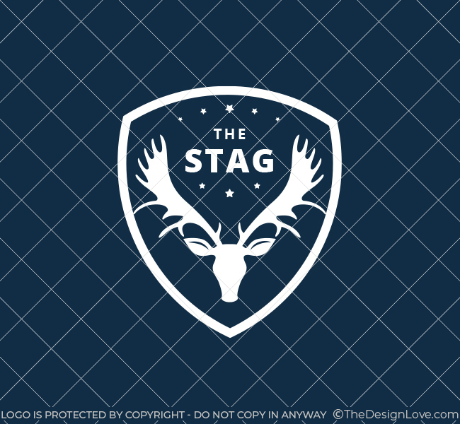 Pre-Made-Stag-Shield-Logo-White