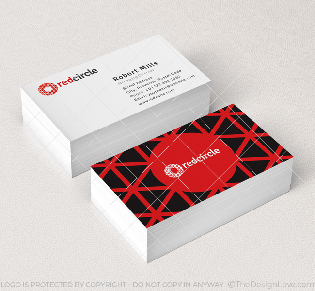 196 red circle business card mockup - Circle Business Cards