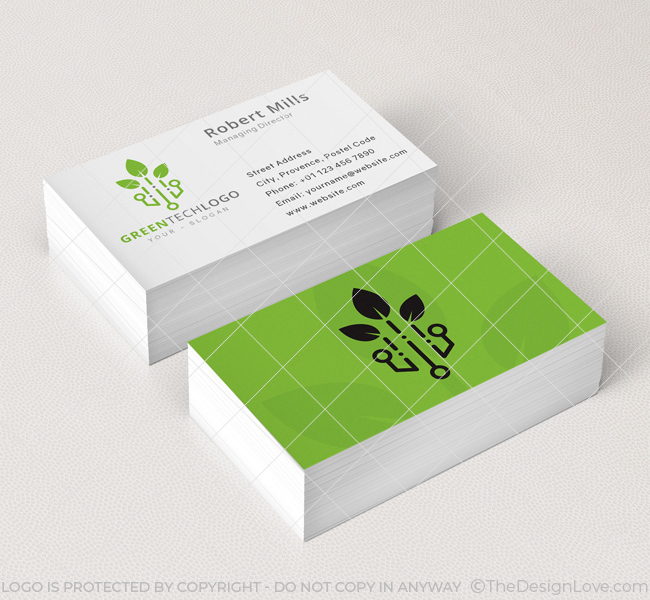 Green Tech Logo Business Card Template The Design Love