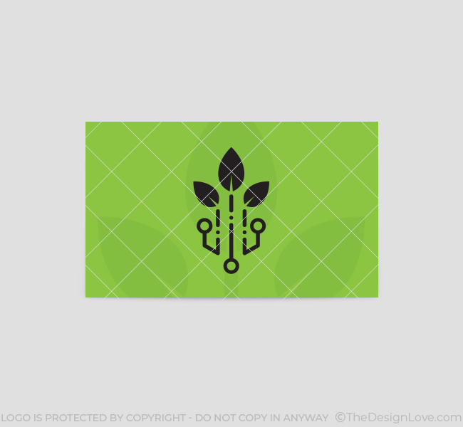 Green tech logo business card template the design love green tech business card template back reheart Gallery