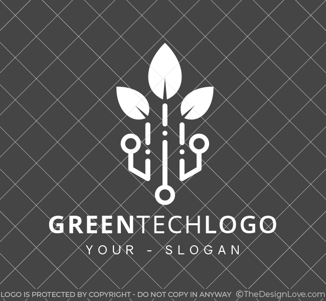 Pre-Designed-Logo-Green-Tech-White