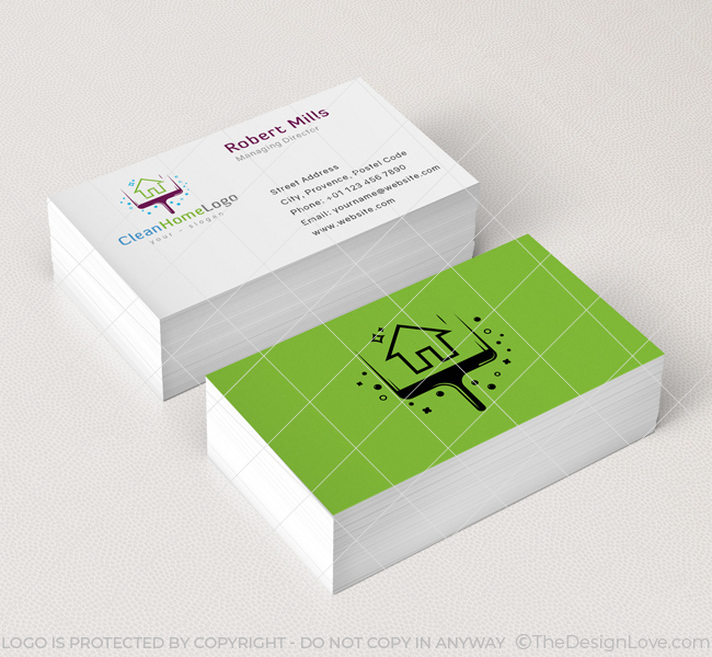 Home Cleaning Logo Business Card Template The Design Love
