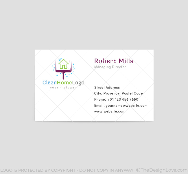 Home cleaning logo business card template the design love home cleaning business card template front wajeb Choice Image
