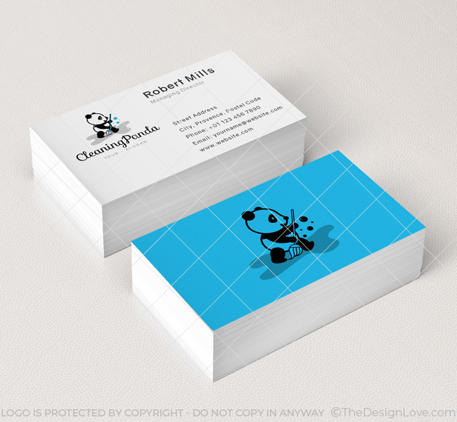 Cleaning panda logo business card template the design love cleaning panda business card mockup colourmoves