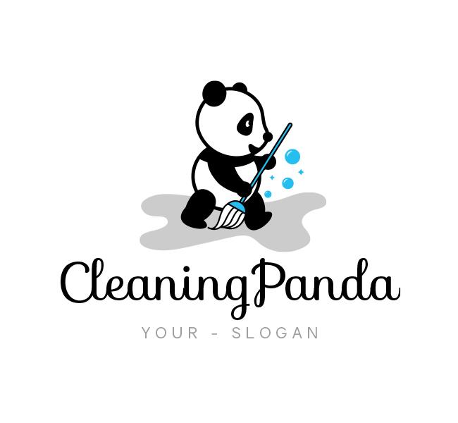 Cleaning-Panda-Logo-Template