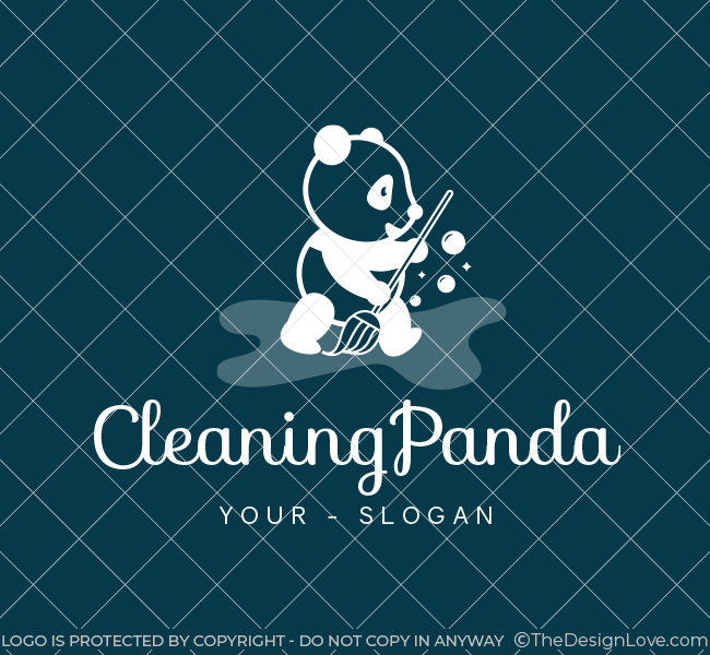 Pre-Designed-Logo-Cleaning-Panda-White