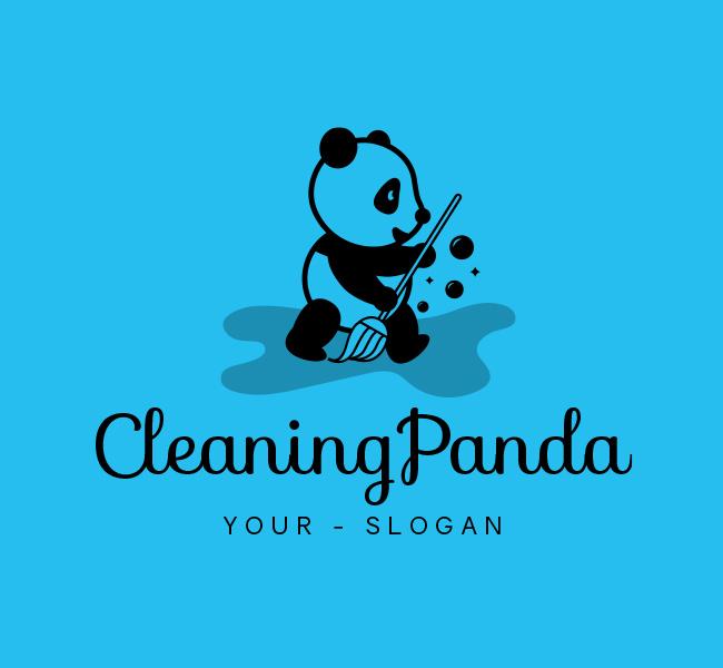 Ready-made-Logo-Cleaning-Panda-Black
