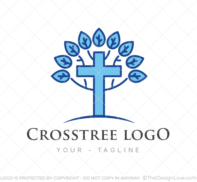 cross tree church logo business card template the design love rh thedesignlove com
