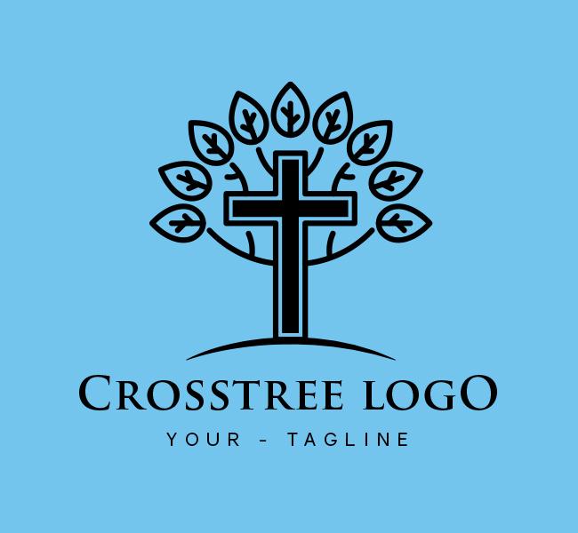 Ready-made-Logo-Cross-Tree-Church-Black