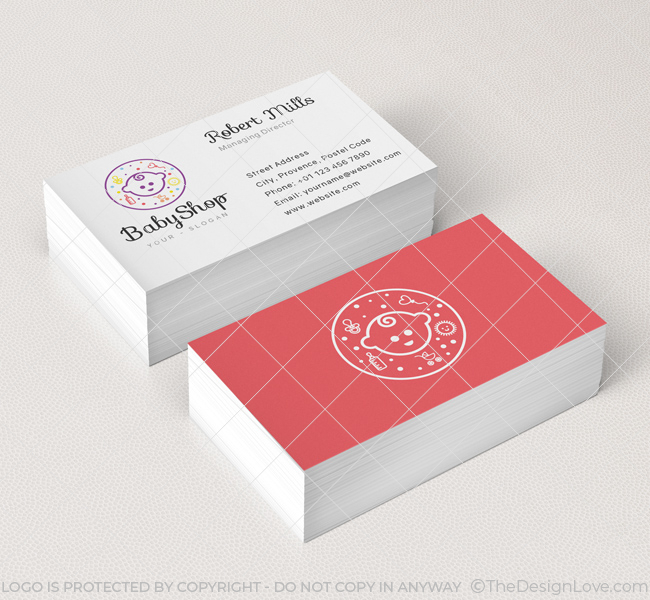 baby shop logo business card template