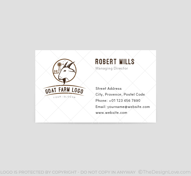 186 Goat Farm Logo Business Card Template on Text Feature Freebie
