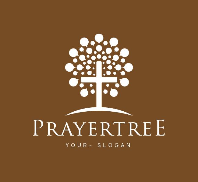 Pre-Designed-Logo-Prayer-Tree-Church-White