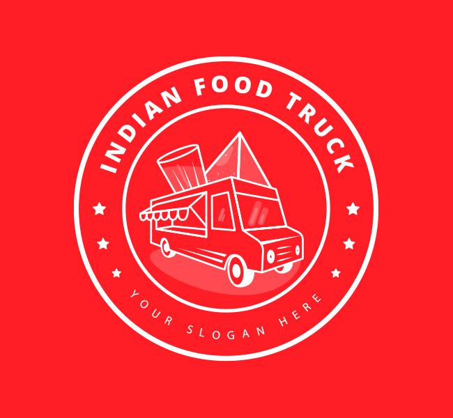 Pre-Designed-Logo-Indian-Food-Truck-White