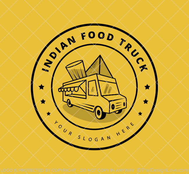 Ready-made-Logo-Indian-Food-Truck-Black