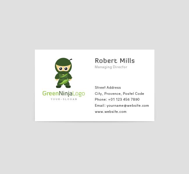 Green-Ninja-Business-Card-Template-Front