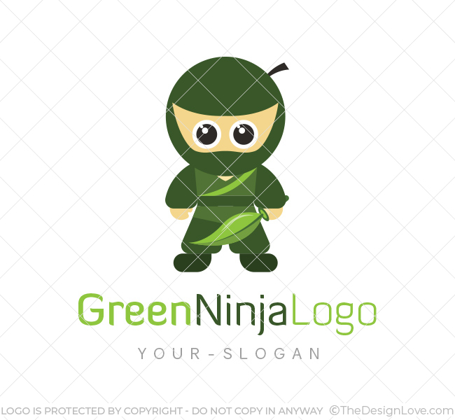 green ninja logo business card template the design love
