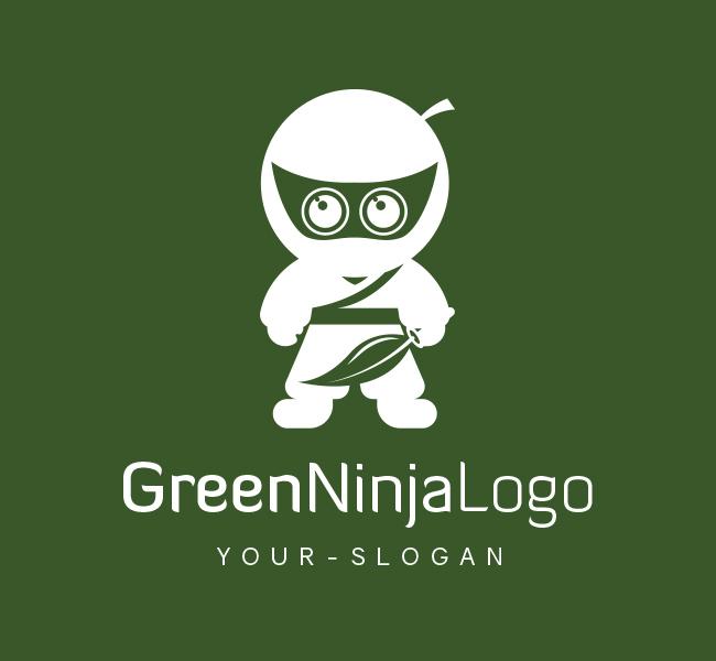 Pre-Designed-Logo-Green-Ninja-White