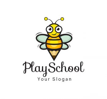 Happy Bees Play School Logo & Business Card Template