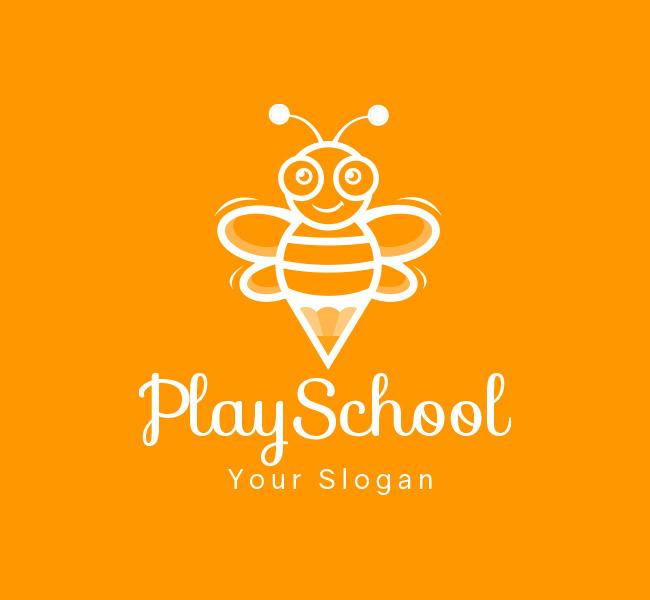 Happy-Bees-Play-School-Pre-Designed-Logo