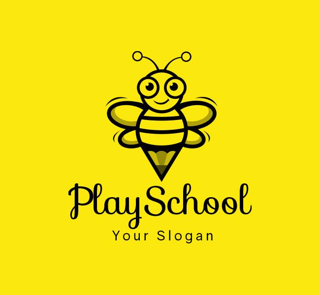 Happy-Bees-Play-School-Stock-Logo