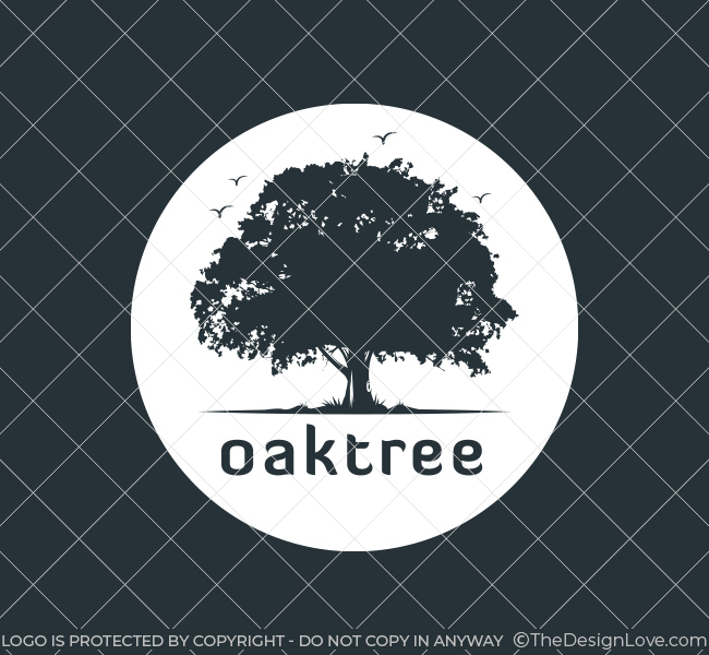 Pre Designed Logo Oak Tree Silhouette White
