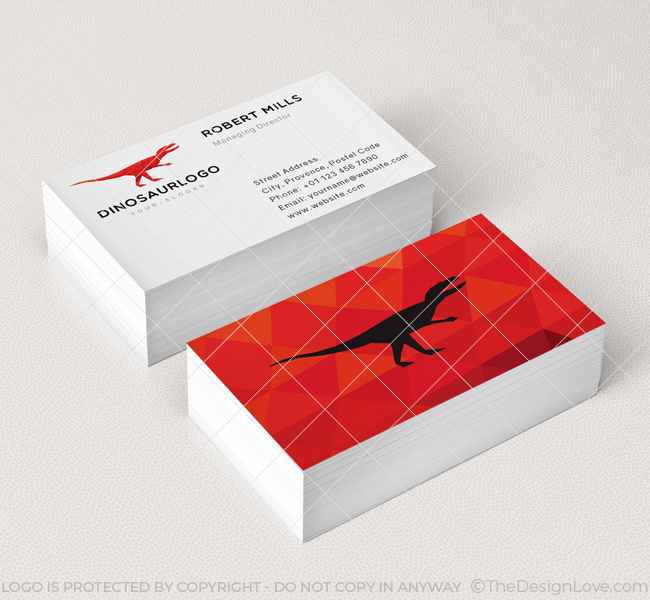 red dinosaur business card mockup