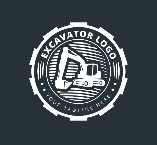 Pre-Designed-Excavator-Logo-White